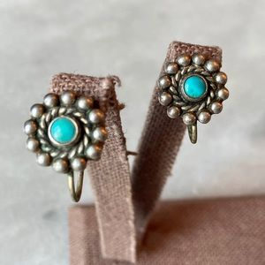 Sterling Arizona Blue Turquoise Earrings